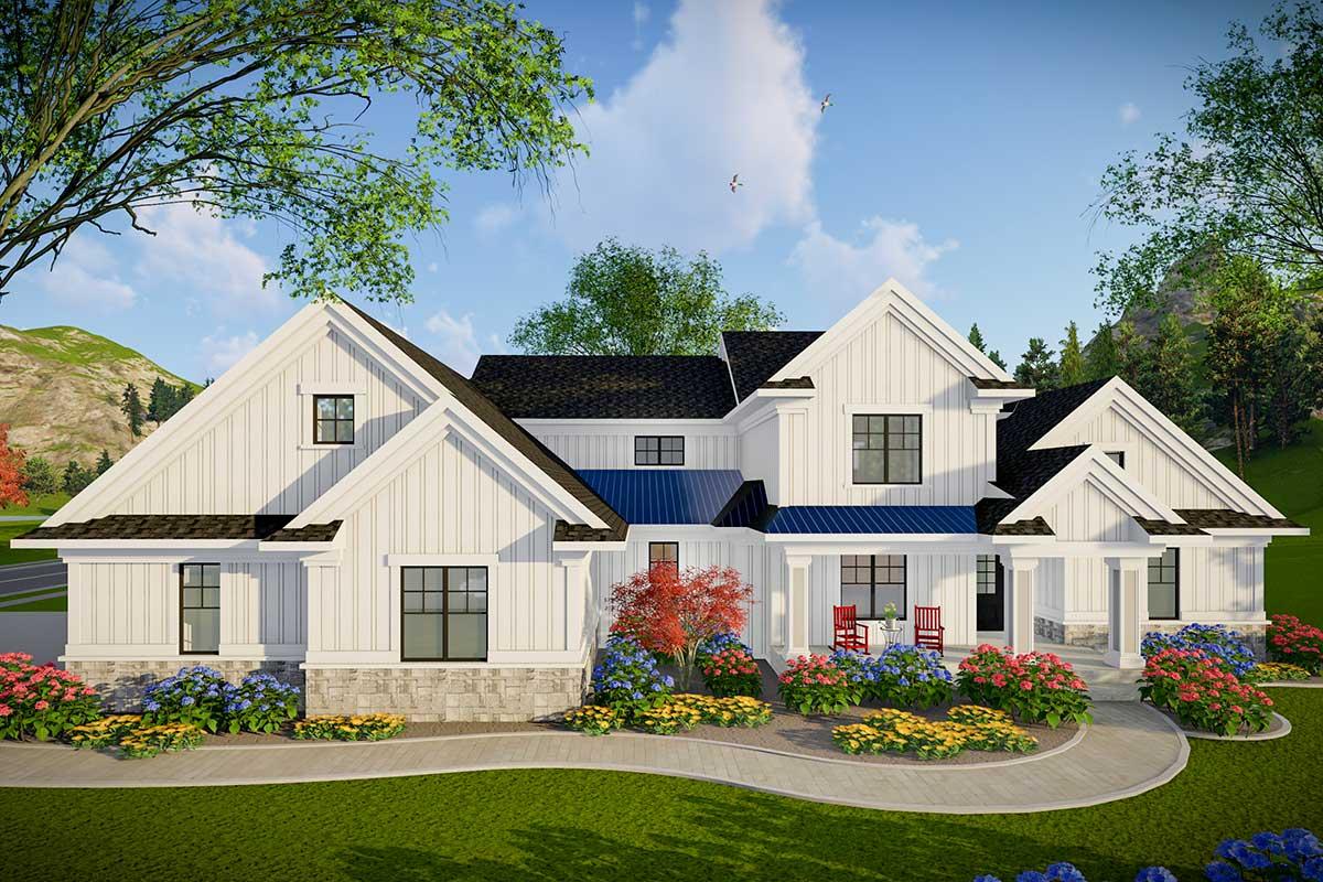 Modern Farmhouse Plan with 3-Car Side-Entry Garage ...