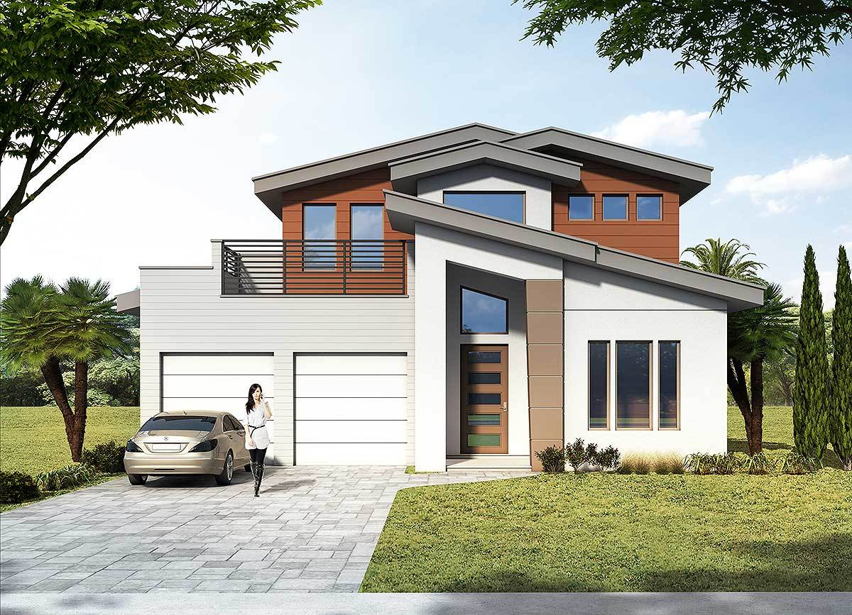 3 Bed Modern House Plan With Upstairs Outdoor Balcony 42841mj