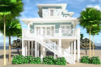High Quality Narrow Lot Elevated 4 Bed Coastal Living House Plan   44161TD Thumb   01 Good Ideas