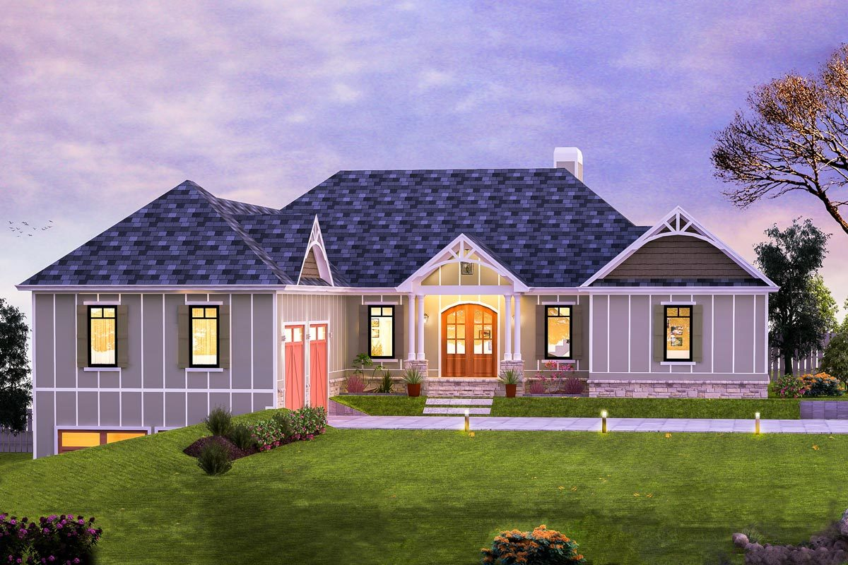 4-Bed Craftsman House Plan With Walk-out Basement