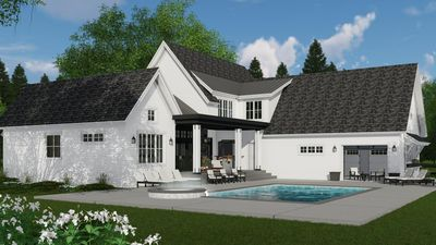 Modern meets Farmhouse with optional rear garage door to ... on Rk Outdoor Living id=97903