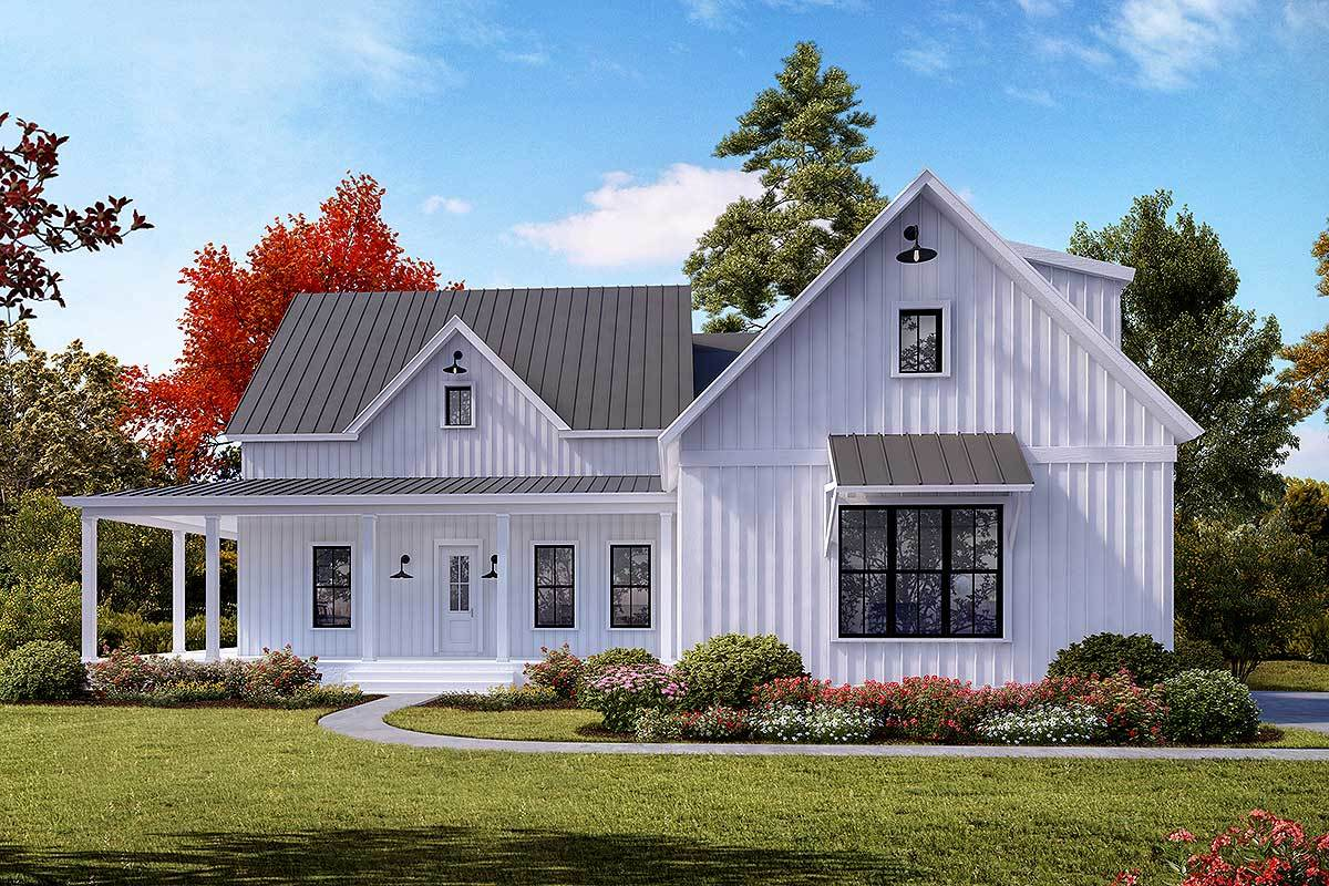 3-Bed Modern Farmhouse Plan with Open Concept Layout and a ...