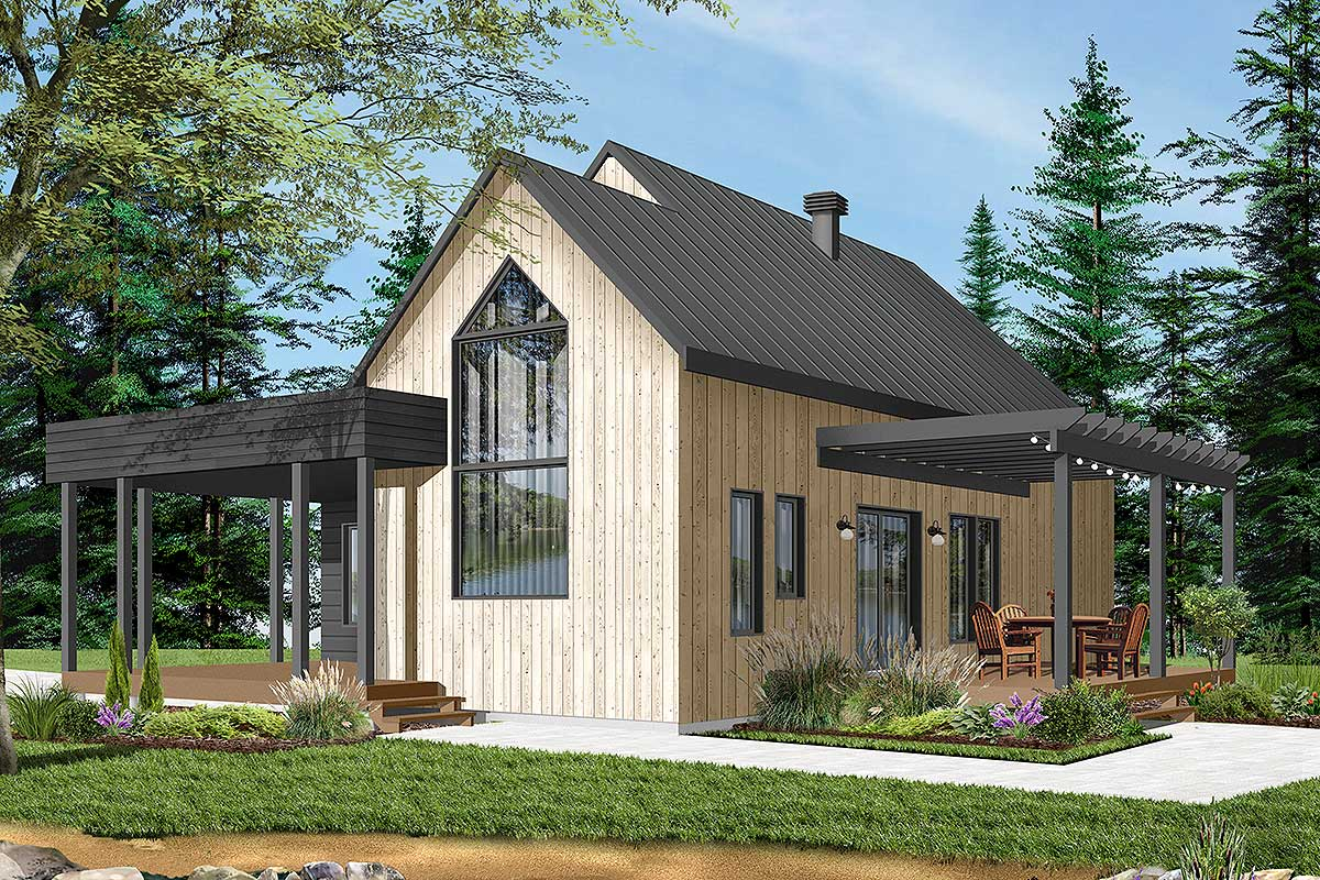 Charming Soothing Feel Luxury Cottage Home Small Home: Charming Contemporary 2-Bedroom Cottage House Plan