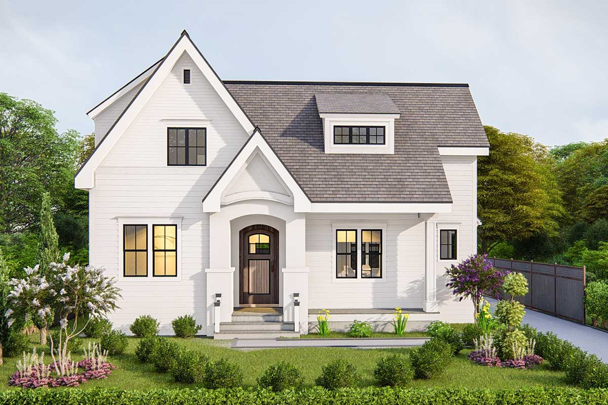 Modest sized 3 bed house plan with 2 sided fireplace for Modest home plans