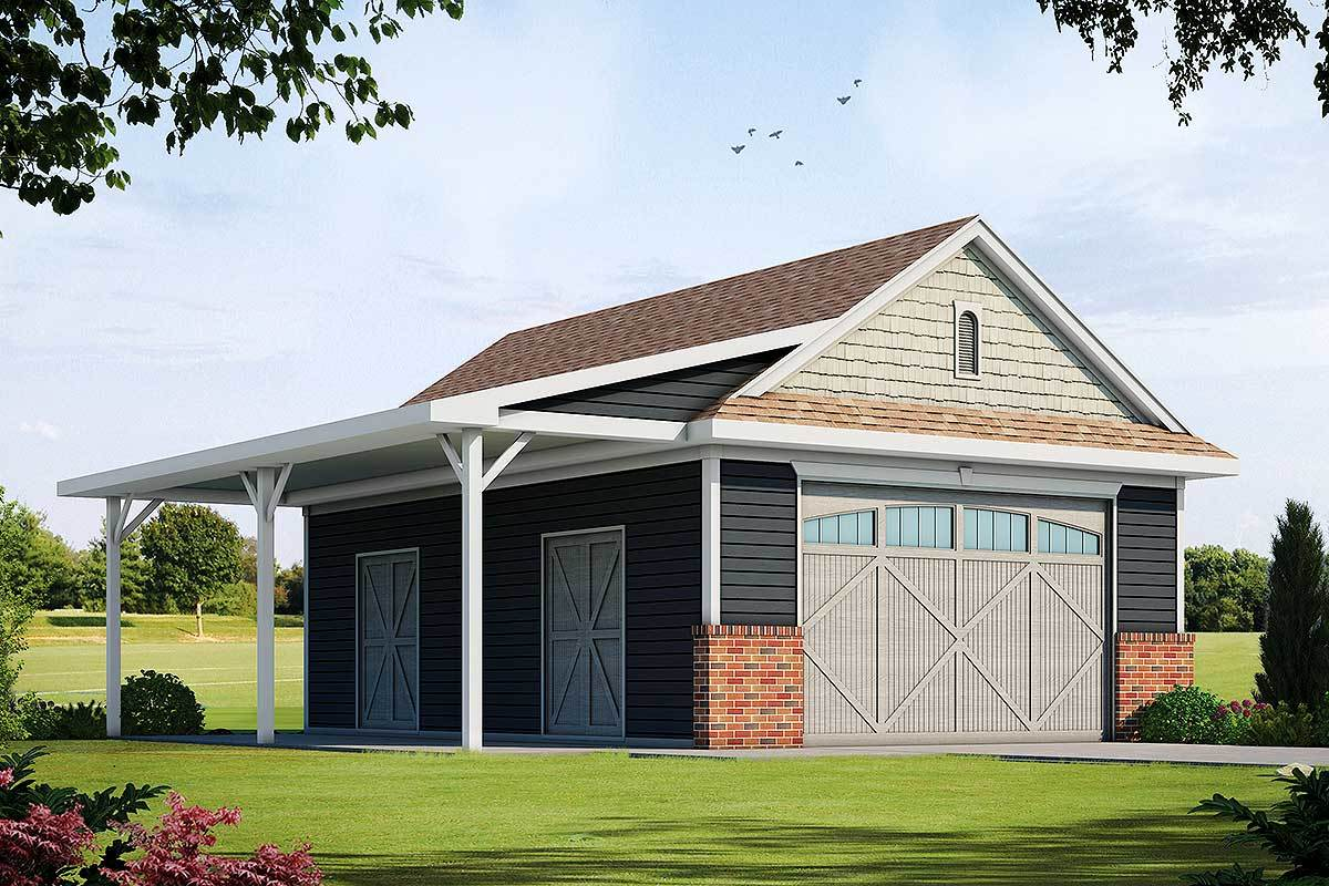 Detached Garage Plan with Barn-Like Doors and Covered ... on Detached Patio Ideas id=66892