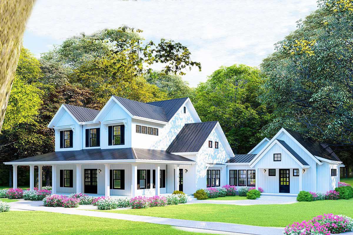 Dreamy Modern Farmhouse Plan with Loft Overlooking Great ...