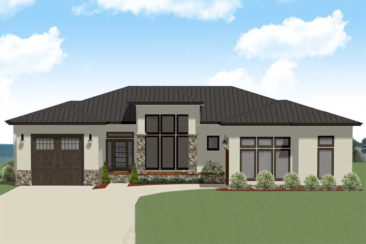 One Story Contemporary Prairie Style House Plan For A Rear