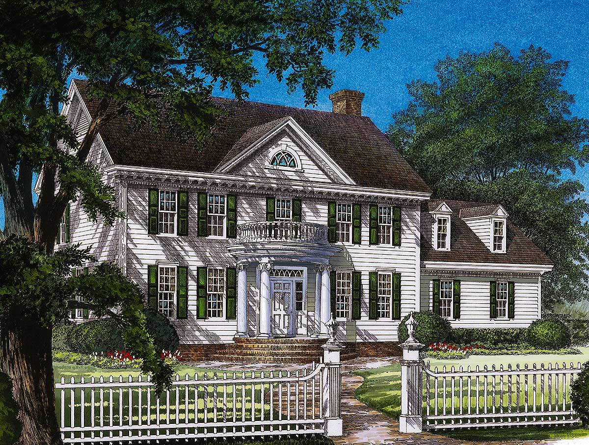 colonial house plan stately colonial home plan 32559wp architectural designs house plans 5018