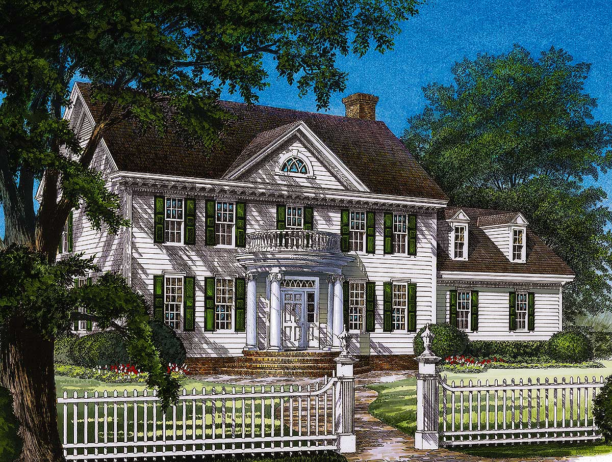 Stately Colonial Home Plan 32559wp Architectural
