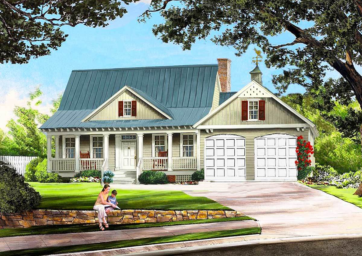 Cottage with porches front and back 32565wp for House plans with porches on front and back
