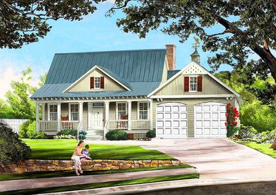 Cottage With Porches Front and Back - 32565WP thumb - 01