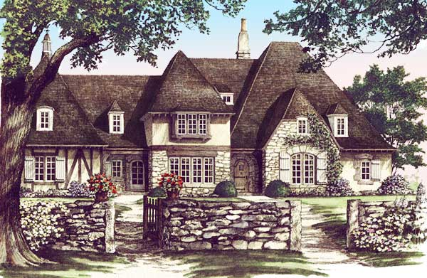 Distinctive tudor home plan 32577wp 1st floor master for French tudor house plans
