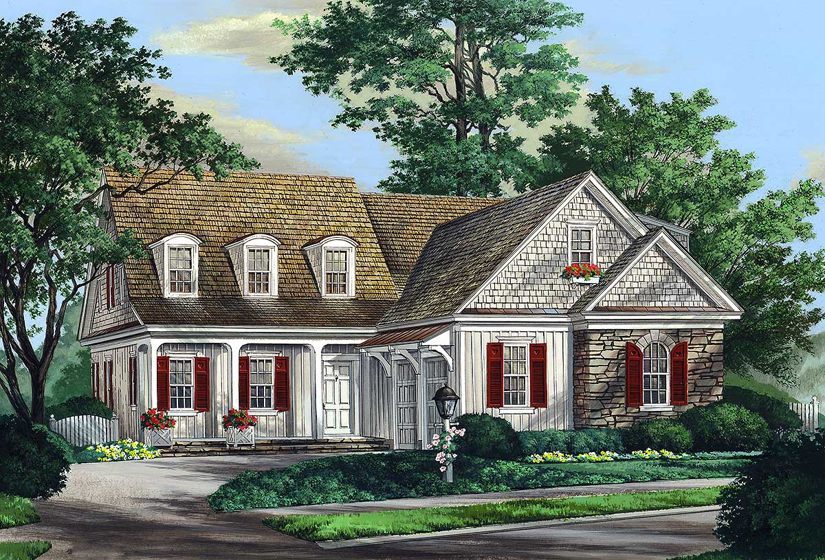 Traditional home plan with courtyard style garage for Courtyard garage house plans