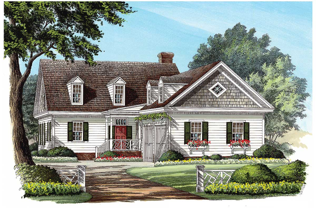 L shaped cape cod home plan 32598wp 1st floor master for Cape house plans