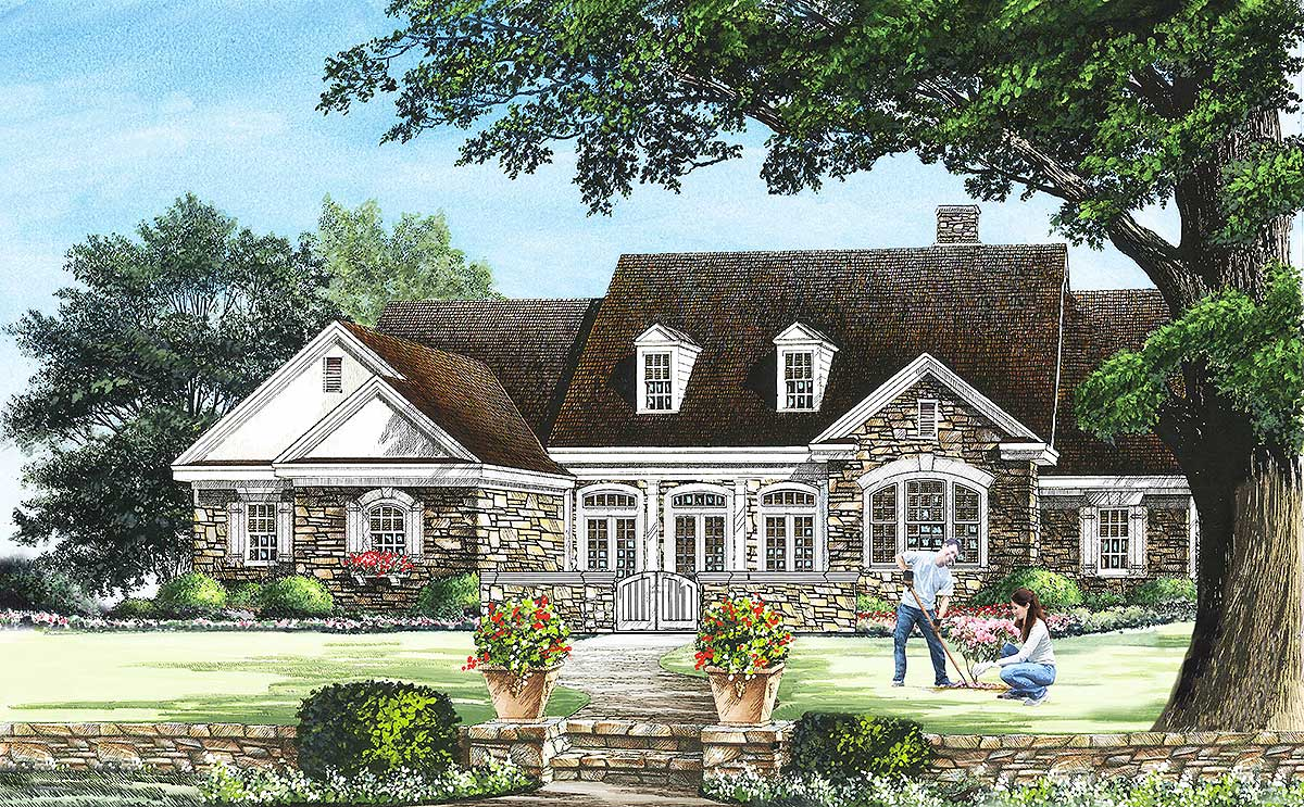 4 bedroom english cottage with courtyard 32603wp for Four bedroom cottage house plans