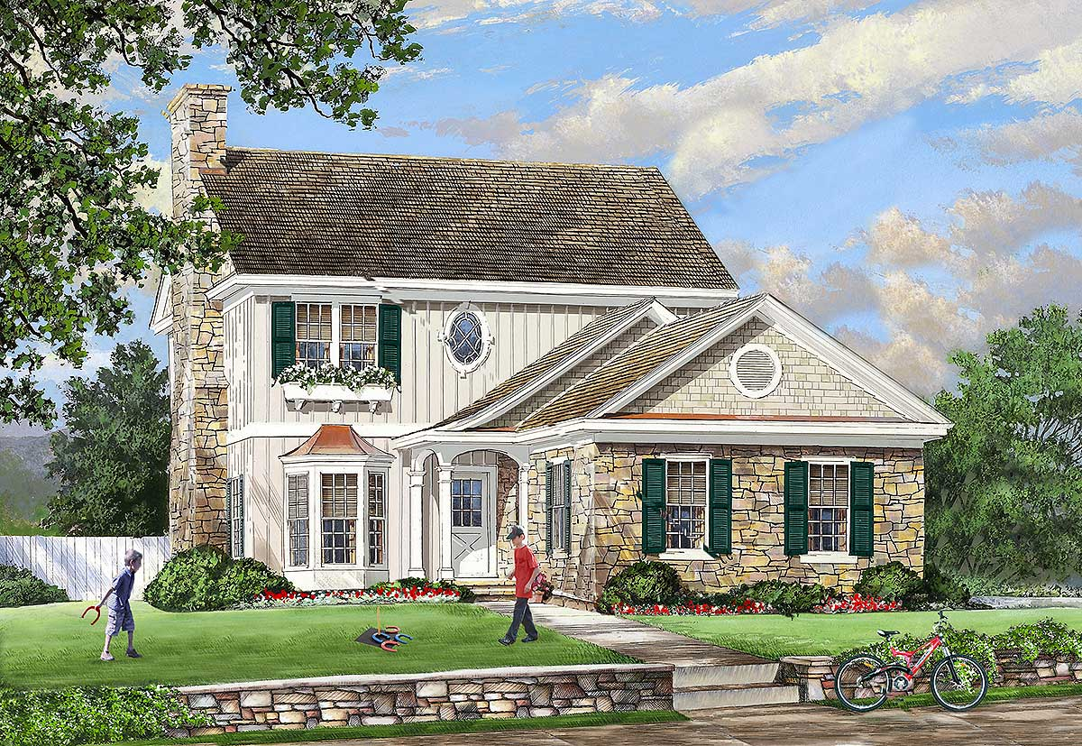 Cottage with two master suites 32610wp architectural for House plans with 3 master suites