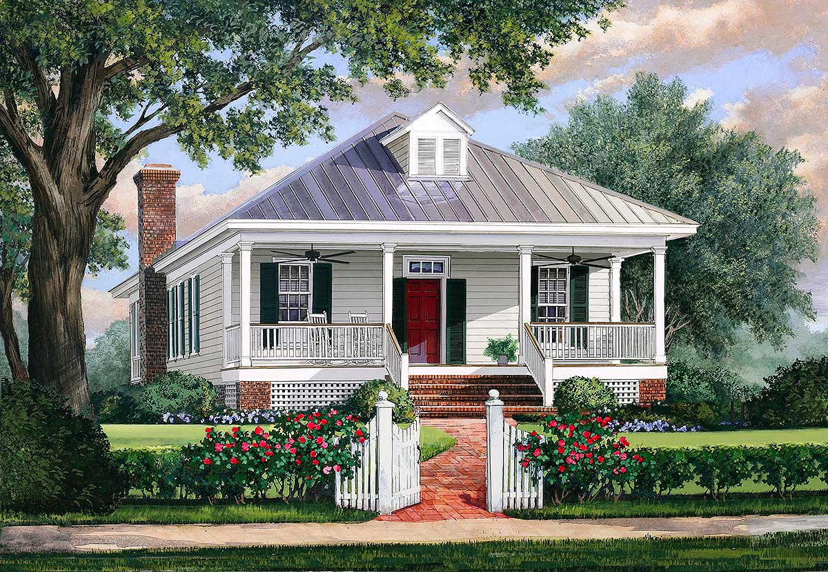 Southern cottage house plan with metal roof 32623wp for Tin roof house plans
