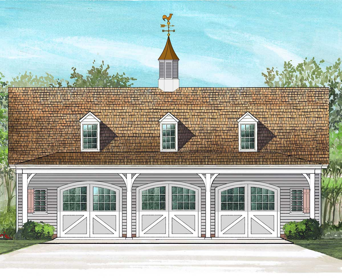 3 car carriage house plan 32626wp architectural for Carriage house design plans
