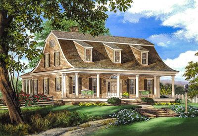 gambrel house plan with 2 stairs - 32629wp | architectural designs