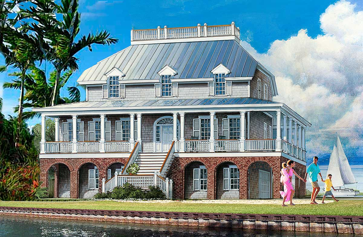 Dramatic low country house plan 32651wp architectural for Low country house