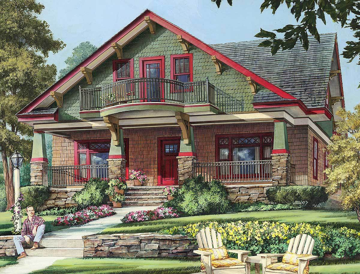 Craftsman cottage with second floor balcony 32652wp for Bungalow house design with terrace