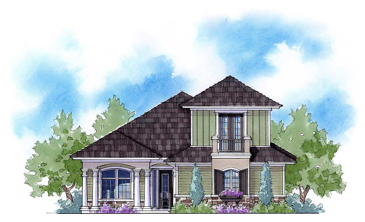 Narrow lot with bonus room 33103zr architectural for House plans with bonus room