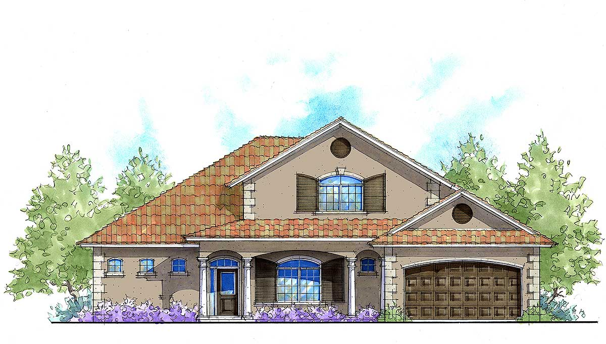 Energy Efficient Mediterranean Home Plan 33134zr