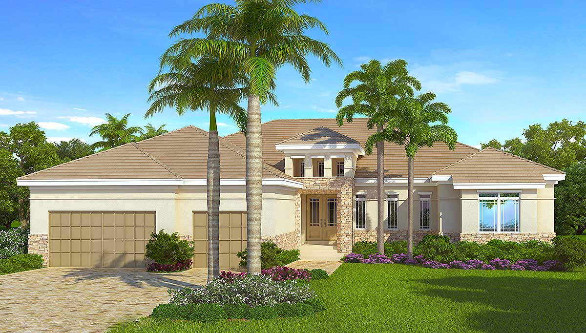 Energy smart house plan with rear lanai 33147zr Energy smart home plans