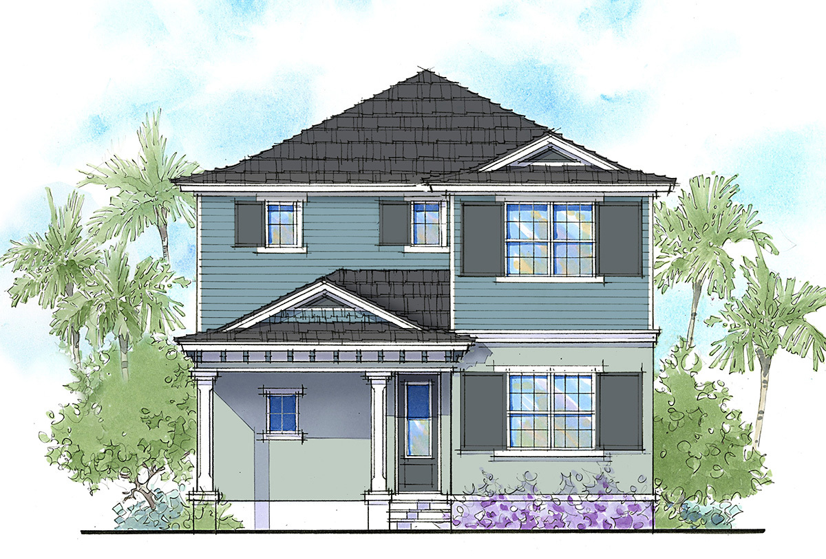 Handsome two story florida home 33159zr architectural for Two story florida house plans