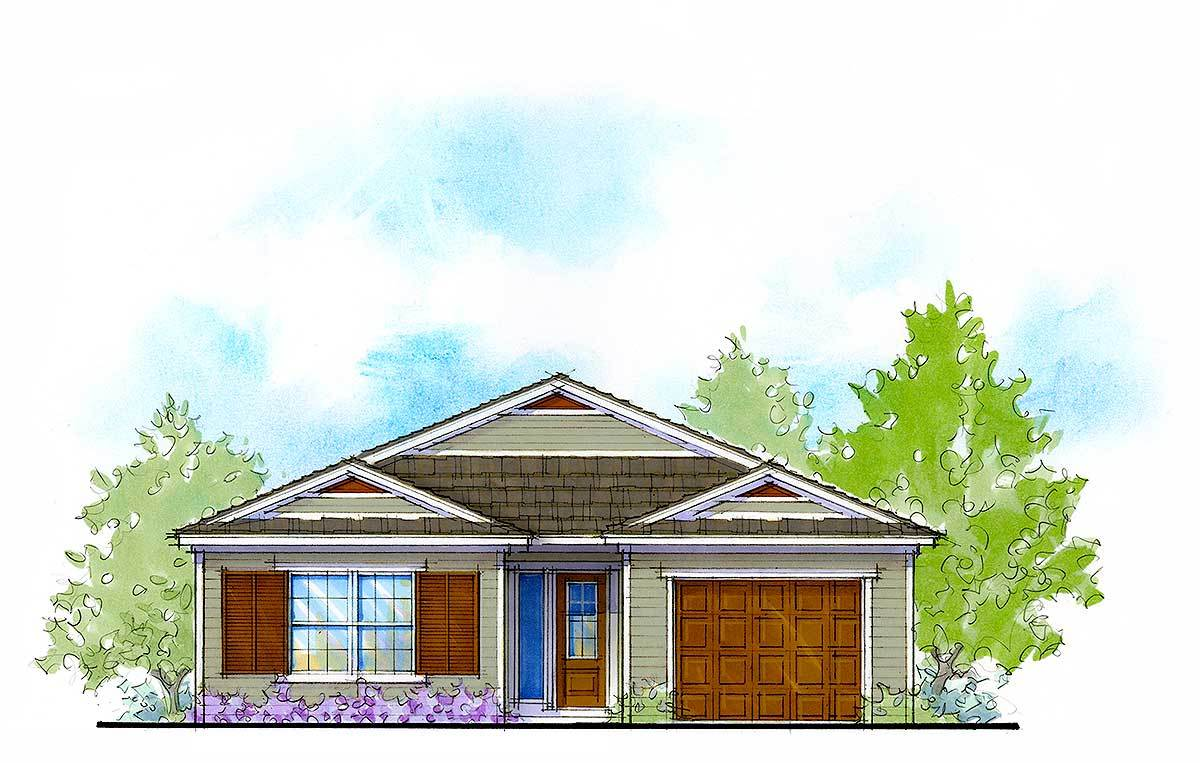 4 Bed Compact Net Zero Ready House Plan 33165zr