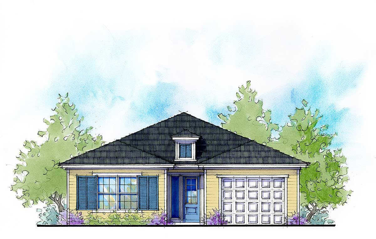 4 bed compact net zero ready home plan 33166zr for Ready house plans