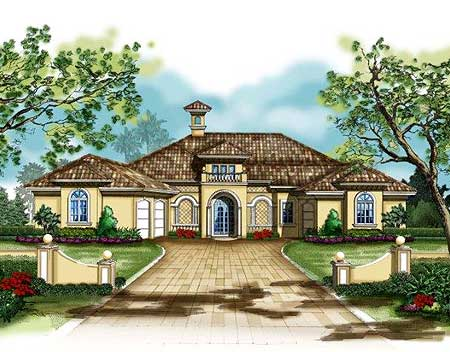 Mediterranean Courtyard House Plan 33501eb Florida