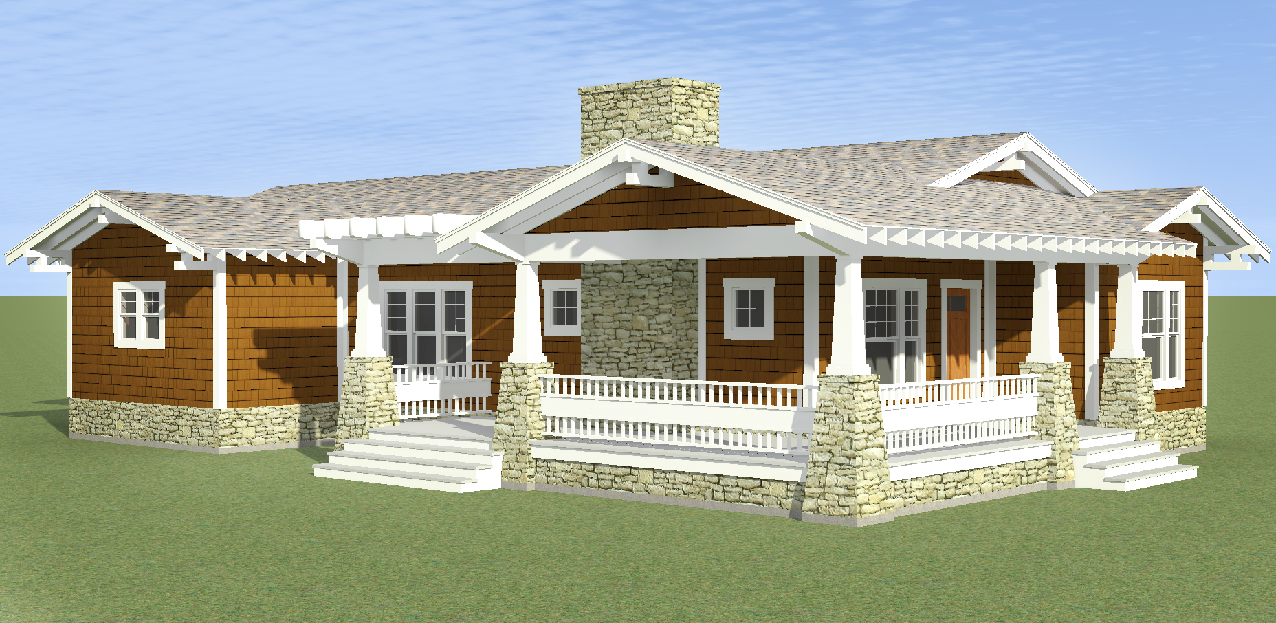 Bungalow with l shaped porch 34000cm beach cottage for L shaped craftsman home plans