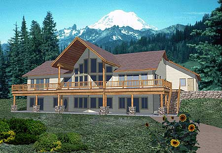 Mountain house plan with two story windows 35083gh 1st for Mountain home plans with walkout basement