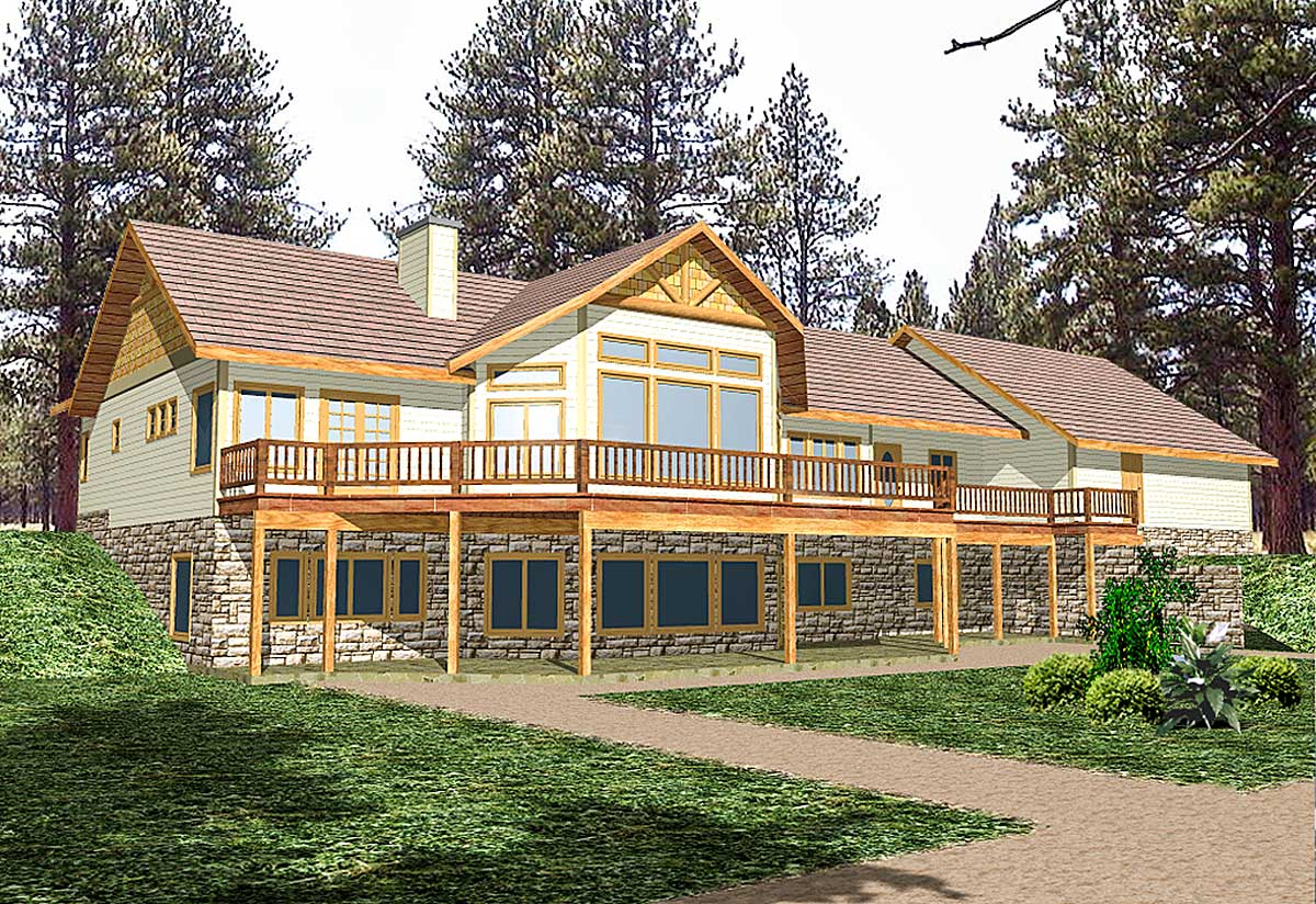 mountain house plan for sloping lot 35098gh