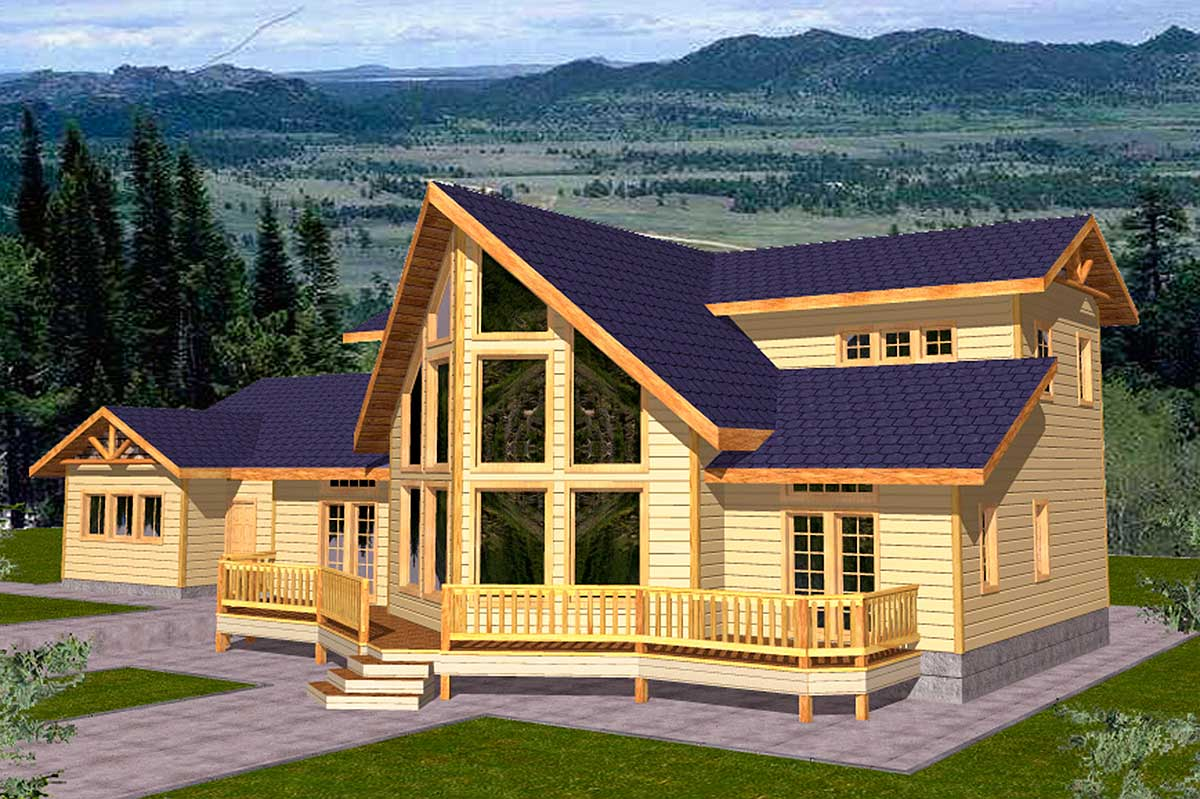 Mountain home plan for view lot 35100gh architectural for Architectural design mountain home