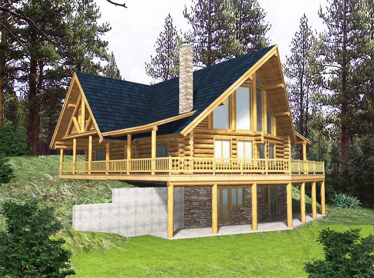 Log home escape 35122gh 2nd floor master suite cad for Cabin lots