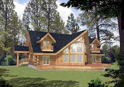 Mountain Log House Plan - 35127GH thumb - 01