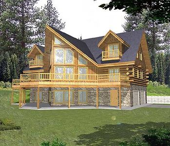 Sloping lot mountain log home plan 35128gh 1st floor for Log homes with basement floor plans