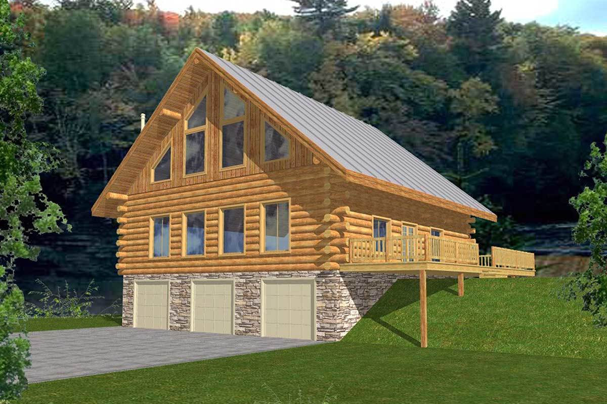 Log home with two story great room 35208gh for 2 story log cabin plans