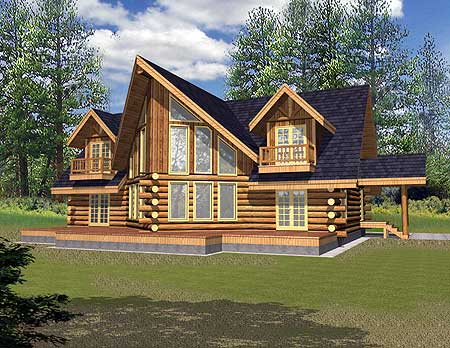 Mountain log home plan 35214gh architectural designs for Mountain log home plans