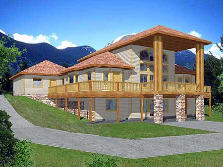 Towering two story covered deck 35284gh 1st floor for 3 story deck design