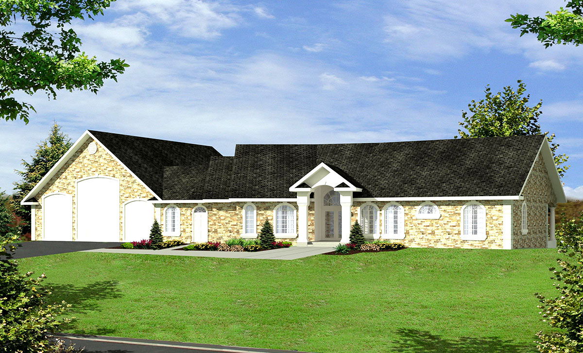 Ranch home for a sloping lot 35296gh architectural for House plans for sloped land