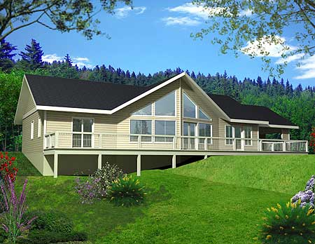 Mountain ranch with great view deck 35328gh 1st floor for Mountain vacation home plans
