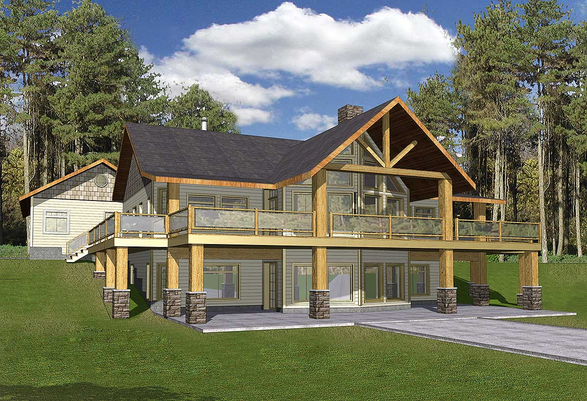 Mountain home with wrap around deck 35427gh for House plans with decks