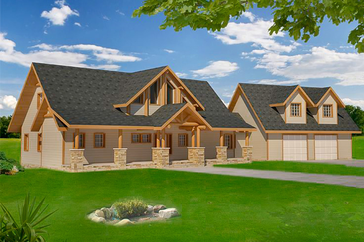 Great for the rear view lot 35440gh architectural for Mountain house plans rear view