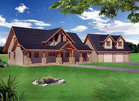 Great for the rear view lot 35440gh 1st floor master for Mountain house plans rear view