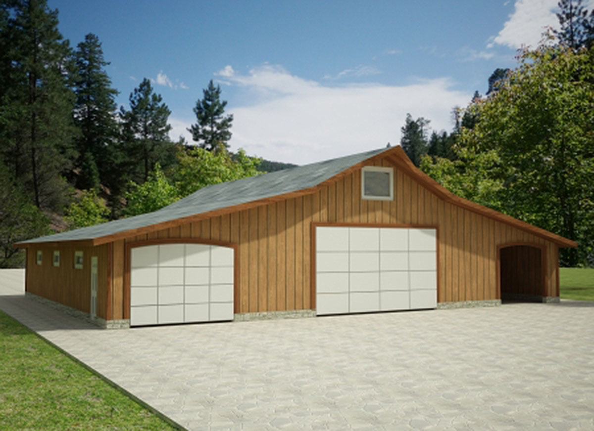 Garage with large shop area 35444gh architectural for Large garage plans