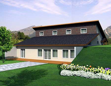 Attractive Berm House Plan 35458GH 1st Floor Master Suite CAD Available