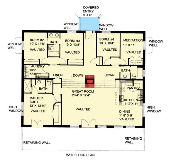attractive bermed house plans #6: Attractive Berm House Plan - 35458GH floor plan - Main Level